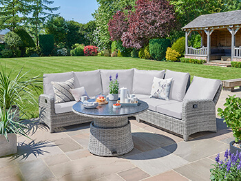 Image of LIFE Hawaii Round Corner Garden Furniture Set - Yacht / Mouse Grey
