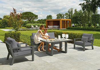 Image of LIFE Timber Aluminium Lounge Set in Lava / Carbon