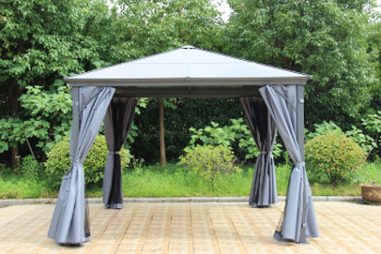 Image of Runcton 3.0 x 3.0m Square Polycarbonate Gazebo - Anthracite