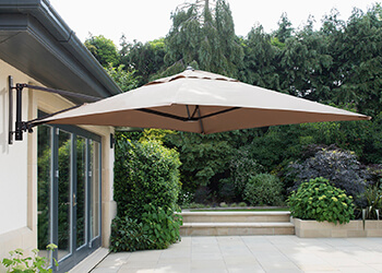 Image of Wall Mounted 2.0m Square Cantilever Garden Parasol - Taupe