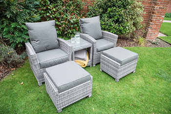 Image of Serenity 2 Seater Recliner Chair Furniture Set - Half Round Weave - Mixed Grey