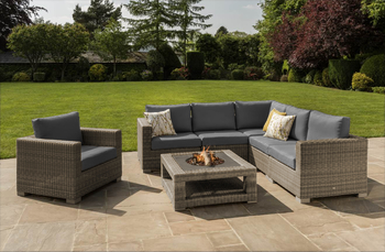 Image of Maui 6 Seater Fire Pit Corner Furniture Set from LIFE Camel/Carbon
