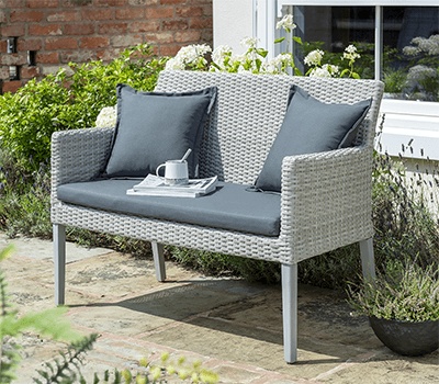 Image of Norfolk Leisure Chedworth 2 Seater Bench in Grey