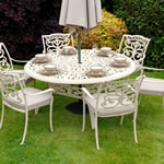 Small Image of Ornamental 6 Seater Round Garden Furniture Set by Idle Rose