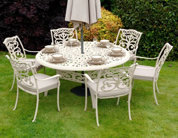 Image of Ornamental 6 Seater Round Garden Furniture Set by Idle Rose