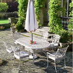 Small Image of Ornamental 6 Seater Oval Garden Furniture Set by Idle Rose
