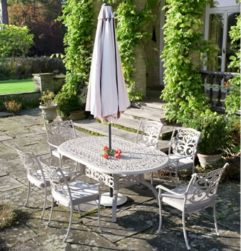 Image of Ornamental 6 Seater Oval Garden Furniture Set by Idle Rose