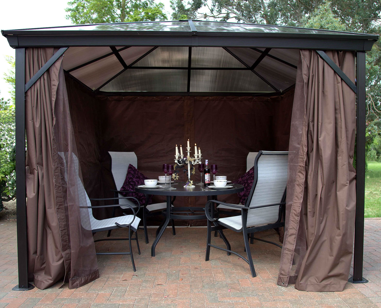 Extra image of Runcton 3.0 x 3.0m Square Polycarbonate Gazebo - Brown