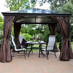 Small Image of Runcton 3.0 x 3.0m Square Polycarbonate Gazebo - Brown