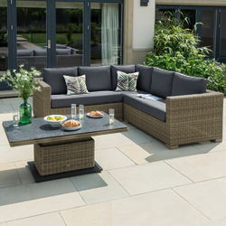 Small Image of LIFE Aya Square Corner Garden Furniture Set in Camel/Carbon