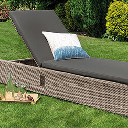 Small Image of LIFE Aya Weave Lounger With Cushion in Camel / Carbon