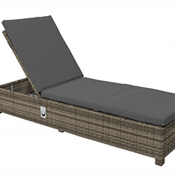 Extra image of LIFE Aya Weave Lounger With Cushion in Camel / Carbon