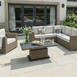 Small Image of LIFE Aya Square Corner Garden Furniture Set in Camel/Khaki
