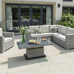Small Image of LIFE Aya Square Corner Sofa Garden Furniture Set in Yacht Grey/Khaki