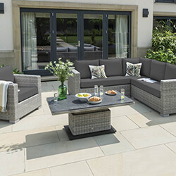 Small Image of LIFE Aya Square Corner Garden Furniture Set in Yacht Grey/Carbon