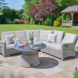 Small Image of LIFE Hawaii Round Corner Garden Furniture Set - Yacht / Mouse Grey