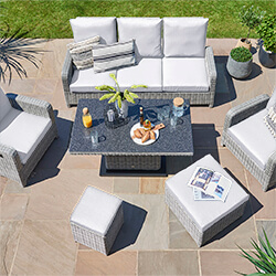Small Image of LIFE Hawaii Lounge Sofa Garden Furniture Set - Yacht / Mouse Grey