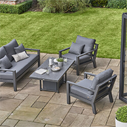 Small Image of LIFE Timber Aluminium Lounge Sofa Set with Adjustable Table in Lava/Carbon