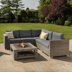 Small Image of Maui 6 Seater Fire Pit Corner Furniture Set from LIFE Camel/Carbon