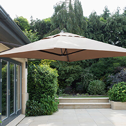 Small Image of Wall Mounted 2.0m Square Cantilever Garden Parasol - Taupe