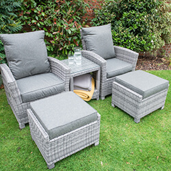 Small Image of Serenity 2 Seater Recliner Chair Furniture Set - Half Round Weave - Mixed Grey