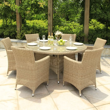 Small Image of Serenity Six Seater Weave Outdoor Dining Set
