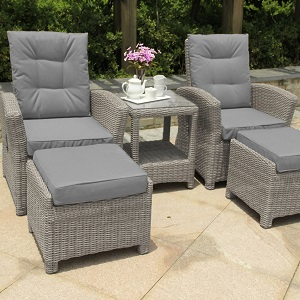 Small Image of Serenity 2 Seater Recliner Chair Furniture Set - Pepper/Grey