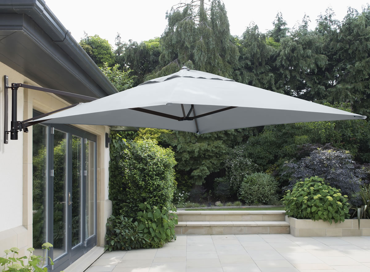Wall Mounted 2 0m Square Cantilever Garden Parasol Grey