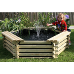 Small Image of Softwood 100 Gallon Pool with Fountain
