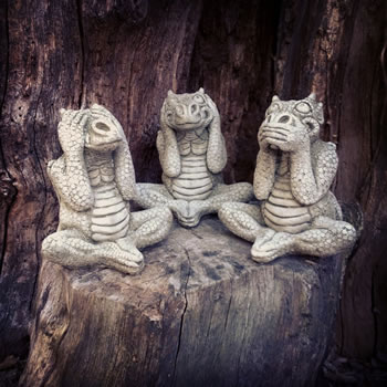 Image of Set of 3 Dragons Stone Ornaments