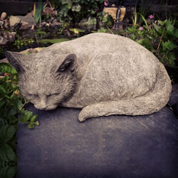 Small Image of Curled up Cat Stone Ornaments