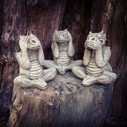 Small Image of Set of 3 Dragons Stone Ornaments