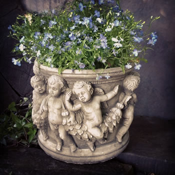 Image of Cherub Pot Small Stone