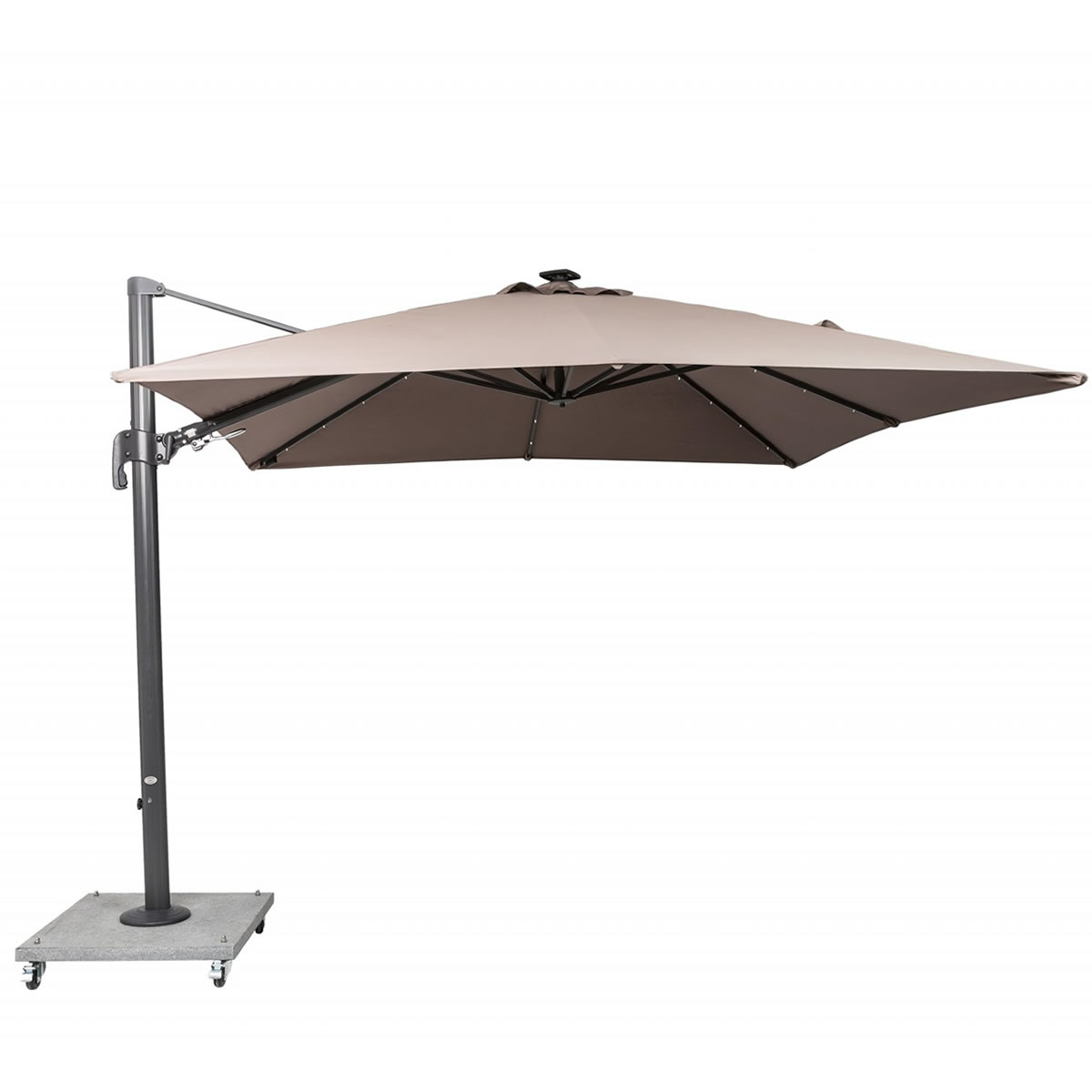 Extra image of LIFE Palermo 3.0m Square LED Cantilever Parasol - Taupe/Lava