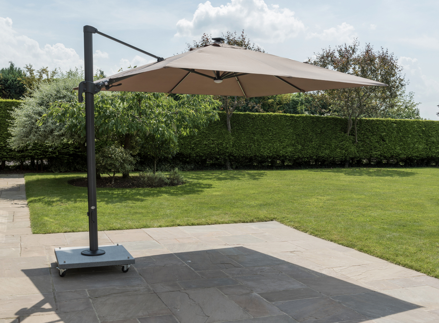 Life Palermo 3 0m Square Led Cantilever Parasol Taupe
