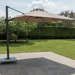 Small Image of LIFE Palermo 3.0m Square LED Cantilever Parasol - Taupe/Lava