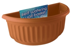 Image of Corinthian Semi Circular Wall Basket - Terracotta