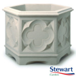 Gothic Hexagonal Planter 39cm - White Stone Effect