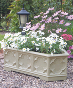 Image of Gothic Trough Planter - White Stone Effect 90cm
