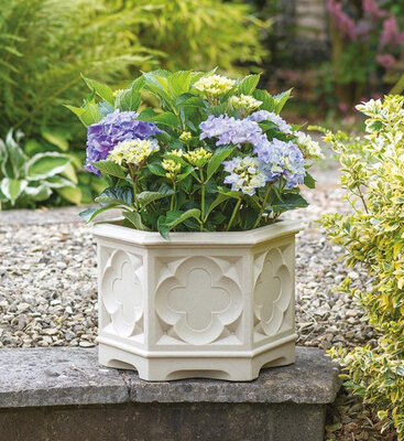 Image of Gothic Hexagonal Planter 39cm - White Stone Effect