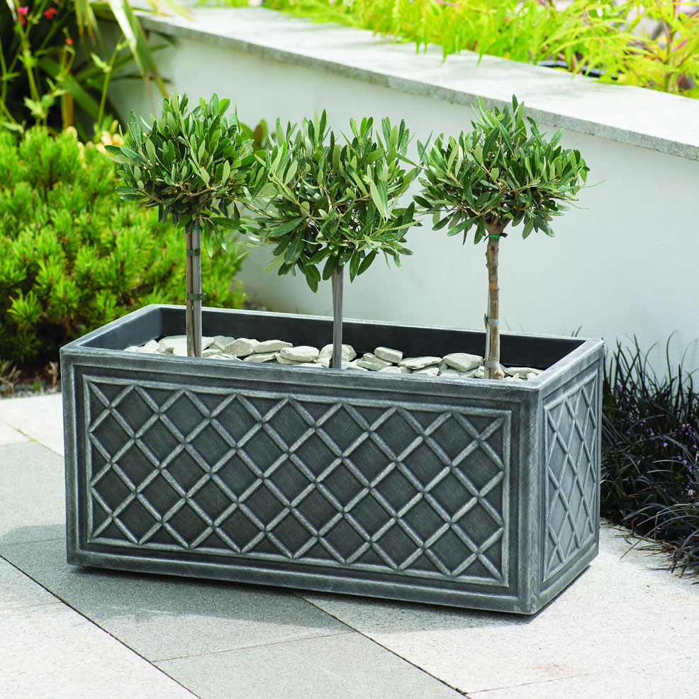 Stewart lead effect trough planter 70cm for Lead planters for sale