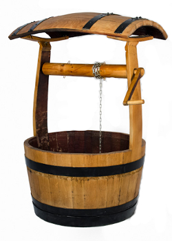 Image of Oak Barrel Wishing Well Garden Planter