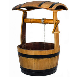 Small Image of Oak Barrel Wishing Well Garden Planter