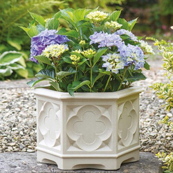Small Image of Gothic Hexagonal Planter 39cm - White Stone Effect