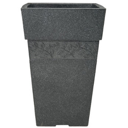 Small Image of Sylvan Granite Effect Tall Square Garden Planter - 40 cm