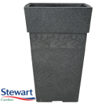 Sylvan Granite Effect Tall Square Garden Planter - 40 cm