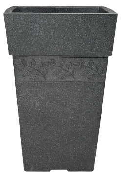 Image of Sylvan Granite Effect Tall Square Garden Planter - 40 cm