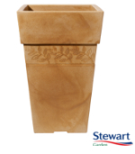 Small Image of Sylvan Sandstone Effect Tall Square Garden Planter - 40 cm