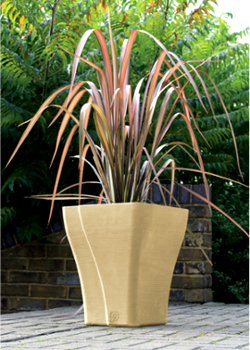 Image of Wave Square Garden Planter - Suede Effect