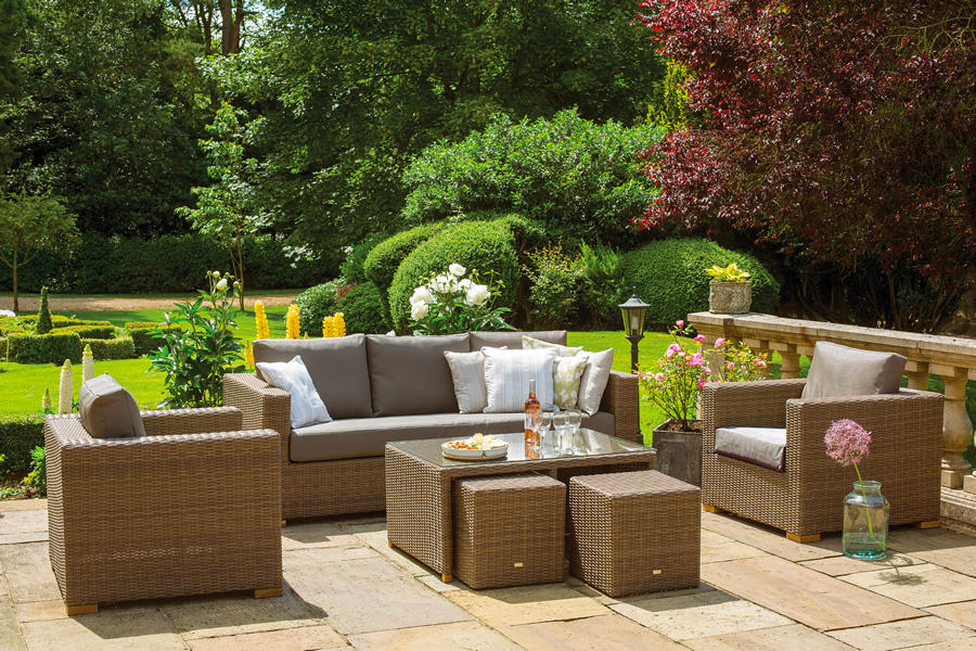 Moray Rattan Garden Lounge Sofa Set In Light Brown And Taupe Garden4less Uk Shop